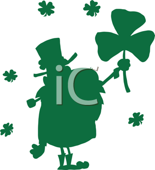 Royalty Free Clipart Image of a Happy Leprechaun Silhouette Holding a Shamrock
