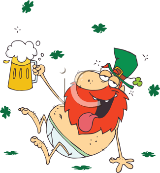 Royalty Free Clipart Image of a Drunk Leprechaun