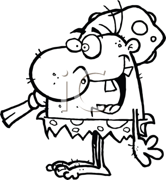 Royalty Free Clipart Image of a Crazy Caveman Carrying a Club