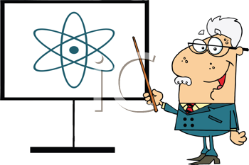 Royalty Free Clipart Image of a Physics Teacher at the Board With a Pointer