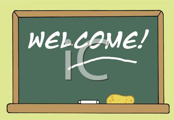 Royalty Free Clipart Image of a Chalkboard With the Word Welcome on It