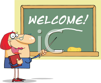 Royalty Free Clipart Image of a Teacher at a Chalkboard With the Word Welcome on It