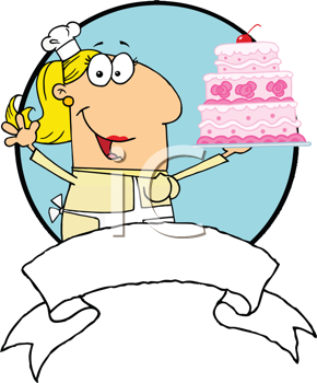 Royalty Free Clipart Image of a Baker Holding a Wedding Cake