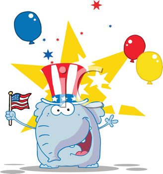 Royalty Free Clipart Image of a Patriotic Elephant Waving a Flag on Independence Day