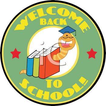 Royalty Free Clipart Image of a Bookworm in Books on a Back to School Badge