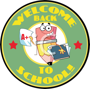 Royalty Free Clipart Image of a Back to School Badge With a Pencil Holding a Book and Report Card