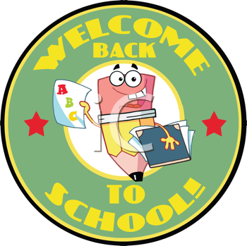 Royalty Free Clipart Image of a Pencil in a Back to School Badge