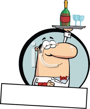 Royalty Free Clipart Image of a Butler Serving Wine