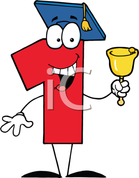 Royalty Free Clipart Image of a Number One Wearing a Mortarboard and Ringing a Bell