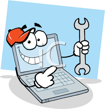 Royalty Free Clipart Image of a Computer Holding a Wrench