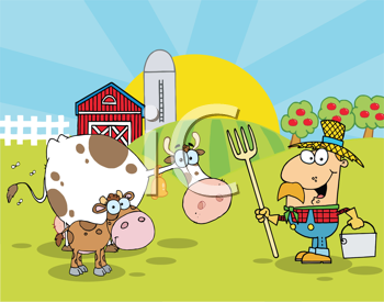 Royalty Free Clipart Image of a Farmer in a Field With a Cow and Calf