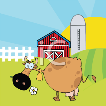 Royalty Free Clipart Image of a Cow in a Barnyard Eating a Daisy