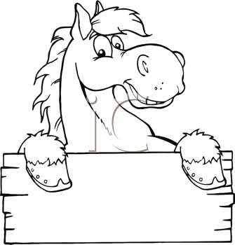 Royalty Free Clipart Image of a Cartoon Horse and Sign