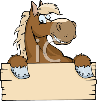 Royalty Free Clipart Image of a Cartoon Horse Over a Blank Sign