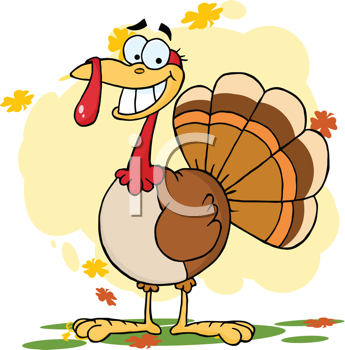 Royalty Free Clipart Image of a Thanksgiving Turkey