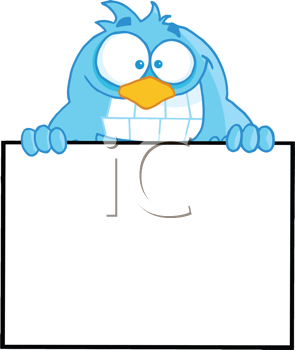 Royalty Free Clipart Image of a Bird With a Blank Sign