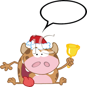 Royalty Free Clipart Image of a Festive Bull Ringing a Bell With a Speech Bubble