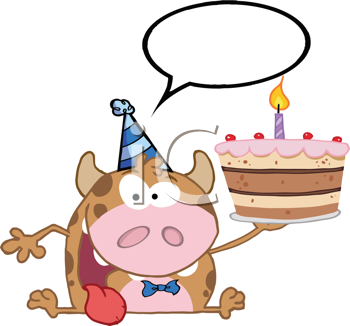 Royalty Free Clipart Image of a Calf With a Birthday Cake