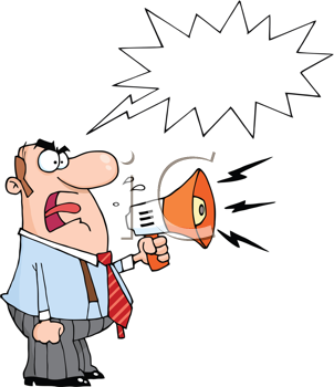 Royalty Free Clipart Image of a Man Yelling Into a Megaphone