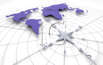 Royalty Free Clipart Image of a World Map on a Compass
