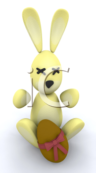 Royalty Free Clipart Image of an Easter Bunny With a Chocolate Egg