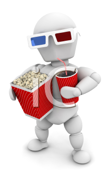 Royalty Free Clipart Image of a Person at the Movies With 3D Glasses, Popcorn and Soda
