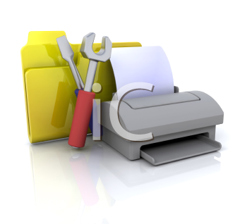 Royalty Free Clipart Image of a File Folder, Printer and Tools