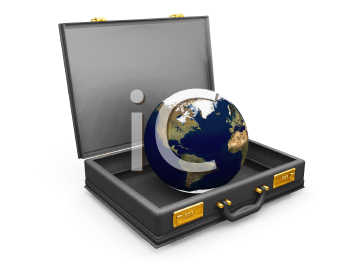 Royalty Free Clipart Image of a Globe in a Briefcase
