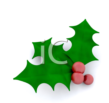 Royalty Free Clipart Image of Holly and Berries