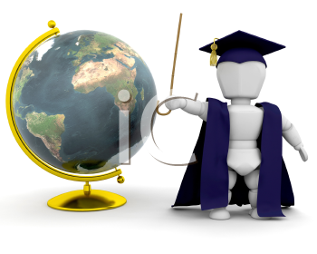 Royalty Free Clipart Image of a Teacher Standing Next to a Globe