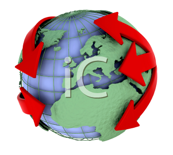 Royalty Free Clipart Image of a Globe With Arrows Around It