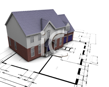 Royalty Free Clipart Image of a House on Blueprints