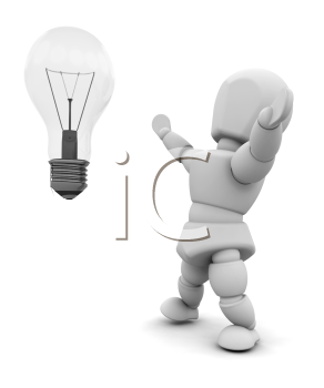 Royalty Free Clipart Image of a Guy With a Light Bulb