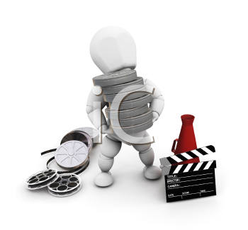 Royalty Free Clipart Image of a Person With Movie Items