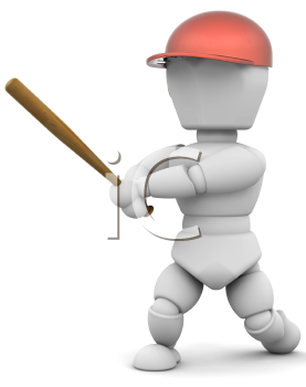 Royalty Free Clipart Image of a Baseball Player at Bat