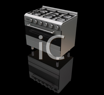 Royalty Free Clipart Image of a Gas Oven on a Black Background