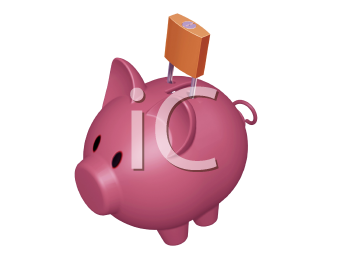 Royalty Free Clipart Image of a Piggy Bank With Padlock