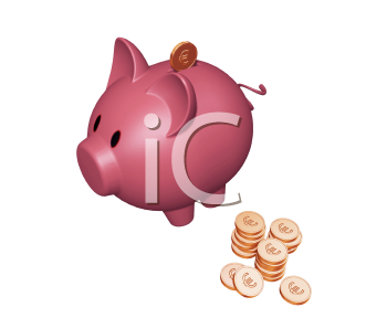 Royalty Free Clipart Image of a Piggy Bank With Euro Coins