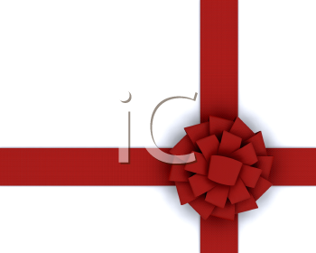 Royalty Free Clipart Image of a Red Ribbon on a White Background