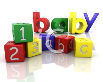 Royalty Free Clipart Image of a Baby's Blocks