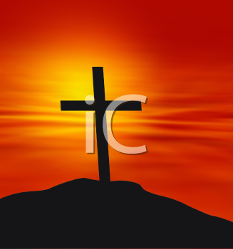 Royalty Free HD Background of a Cross Against a Sunset