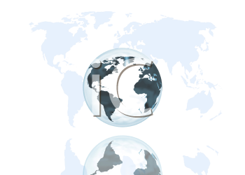 Globe on world map background
