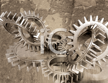 Royalty Free Clipart Image of a Interlocking Gears on Grunge