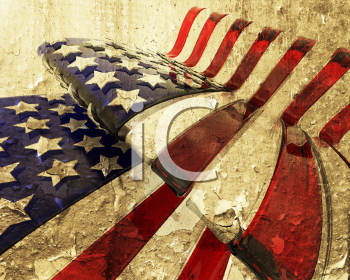 Royalty Free 3D Render of a Glass American Flag with Grunge Effect