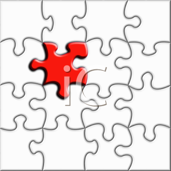 Royalty Free Clipart Image of a Jigsaw Puzzle With One Prominent Piece