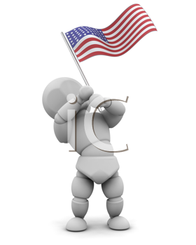 3d render of man with american flag
