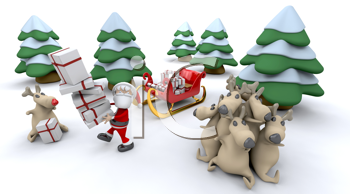 3d render of santa claus and gifts