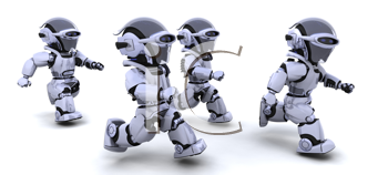 3d Render of robots competing in a race