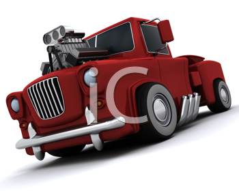 3D render of Charicature of supercharged 50's classic pickup truck