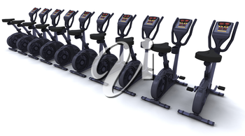 3D render of exercise bikes isolated on white